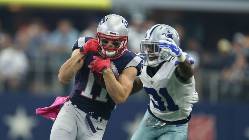 Patriots WR Julian Edelman against the Dallas Cowboys during their game on October 11, 2015.