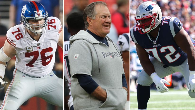 From left to right: Giants T Nate Solder (76), Patriots Head Coach Bill Belichick and T Marshall Newhouse (72).